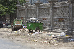 Carts full of trash in the street of Phnom Penh Royalty Free Stock Photo