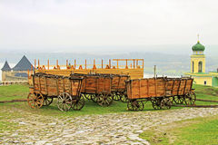 Carts in Khotyn fortress Royalty Free Stock Image