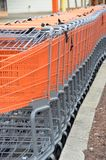 Shopping Carts. Carts lined up outside a store ready to fill with purchases Royalty Free Stock Images