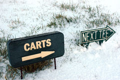 Carts and next tee sign on a snow golf course