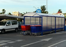 Carts in the parking lot at the shopping complex . Royalty Free Stock Photos