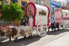 Carts Pilgrimage El Rocio Royalty Free Stock Images