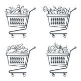 Carts with sausages, fruit, vegetables and bakery Stock Images