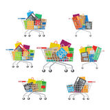 Carts Set. Seven Full Cartoon Shopping Trolleys. Stock Photos