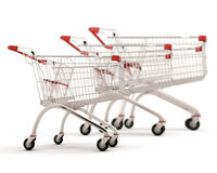 Carts for shopping of the different sizes built in a row Royalty Free Stock Photo