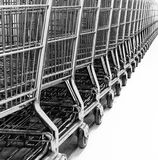 Carts. Shopping carts lined up and ready to roll Stock Photos