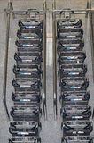 Carts for suitcases of the airport Stock Photo