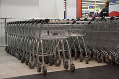 Carts in supermarket Stock Image