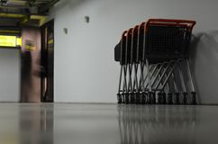 Carts on underground parking. Of mall Royalty Free Stock Image