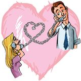 Cartton couple chatting on the phone Royalty Free Stock Photo