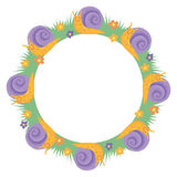 Cartton snail round border frame. Cartton sweet cute snail round border frame wreath decoration Stock Illustration