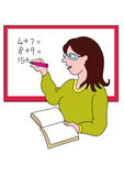 Cartoon teacher. A cartoon teacher with a books, writing sums on a whiteboard Royalty Free Stock Photos