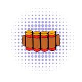 Cartucce che cercano l'icona delle munizioni, stile dei fumetti illustrazione vettoriale