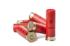 Cartucce del fucile da caccia isolate sopra bianco fotografia stock