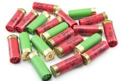12 cartucce per fucili a canna liscia del calibro isolate Fotografia Stock