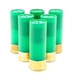 12 cartucce per fucili a canna liscia del calibro usate per cercare Immagine Stock