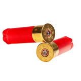 Cartucce per fucili a canna liscia rosse. Fotografia Stock Libera da Diritti