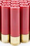 Cartucce per fucili a canna liscia rosse allineate immagine stock libera da diritti