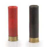 Cartucce per fucili a canna liscia su fondo bianco Fotografie Stock