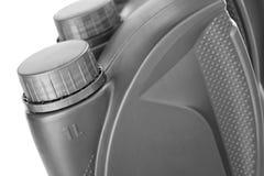 Cartucho cinzento plástico para o óleo de motor Foto de Stock Royalty Free