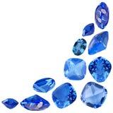 Cartucho das safiras isoladas azul Fotografia de Stock