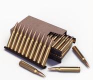 5 cartucho de la OTAN de 56 milímetros en la caja Imagenes de archivo