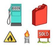 Cartucho para a gasolina, posto de gasolina, torre, sinal de aviso Os ícones ajustados da coleção do óleo no estilo dos desenhos  Imagem de Stock