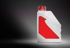 Cartucho plástico branco com etiqueta vermelha vazia Fotografia de Stock Royalty Free