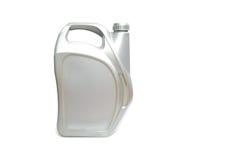 Cartucho plástico cinzento do óleo de motor isolado no branco Imagem de Stock