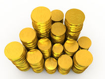 Cartuchos de dinero de monedas de oro  Fotos de archivo