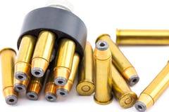 357 cartuchos de la bala con el cargador de la velocidad Fotografía de archivo libre de regalías