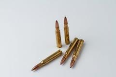 30-06 cartuchos del rifle de la caza del calibre Fotos de archivo