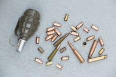 cartuchos e escalas dos vários tipos de armas Imagens de Stock Royalty Free