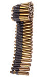 30-06 cartuchos em uma correia da metralhadora Foto de Stock