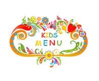 Cartulina para el menú de los niños stock de ilustración