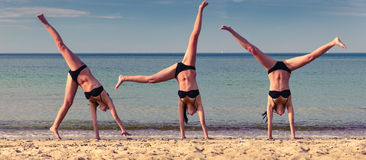 Cartwheel Composite of Girl Royalty Free Stock Photos