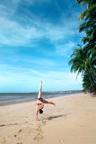 Cartwheels on the beach Royalty Free Stock Photos