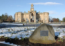 Cartwright Hall Art Gallery at Lister Park in Bradford, England. The square of the Cartwright Hall Art Gallery at Lister Park in Bradford, England during winter Stock Photo