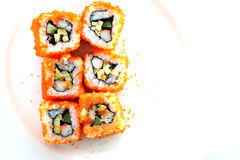 Carufornia roll sushi close-up isolated Stock Photo