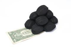 Carvão & dólares Foto de Stock Royalty Free