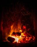 Carvão e logs que queimam o fogo Fotografia de Stock