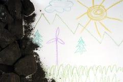 Carvão e moinho de vento Fotografia de Stock Royalty Free