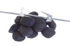 Carvão isolado, pepitas do carbono fotografia de stock
