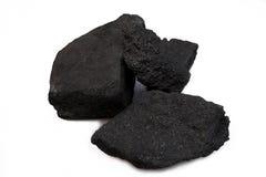 Carvão preto da pilha isolado no fundo branco Imagem de Stock Royalty Free