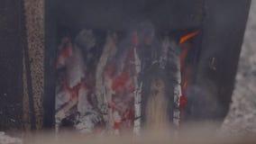 Carvão que queima-se na caixa do metal As faíscas voam, close-up disparado filme
