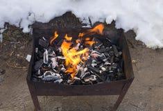 Carvão que queima-se no soldador Imagem de Stock Royalty Free