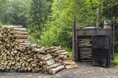 Carvão vegetal ardente Imagens de Stock Royalty Free