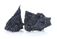 Carvão vegetal no fundo branco foto de stock royalty free