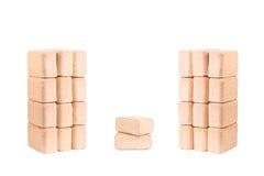 Carvões amassados de madeira isolados no fundo branco firewood briquettes imagem de stock royalty free