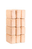 Carvões amassados de madeira isolados no fundo branco firewood briquettes fotografia de stock royalty free